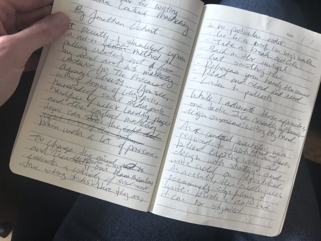 handwriting helps content marketing and writing blog posts